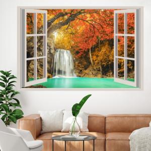 Fototapet 3D Fereastra cu Peisaj de Toamna AMF1819