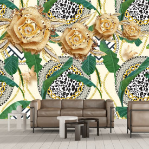 Fototapet 3D Flori Aurii cu Cristale si Frunze Tropicale PFT39