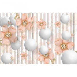Fototapet 3D Sfere Albe Cu Flori OPOS14