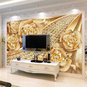 Fototapet 3D Trandafiri Aurii cu Cristale PFT35