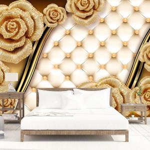 Fototapet 3D Trandafiri Aurii OPO67