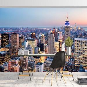 Fototapet Peisaj Urban Combinat cu Luminile Zgarie-Norilor din New York TUSA73