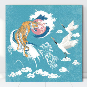 Tablou Arta Japoneza Abstracta cu Tigru si Cocori FGE10