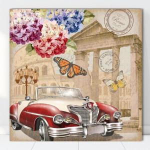 Tablou Canvas Ilustratie Vintage Masina in Roma VR20C