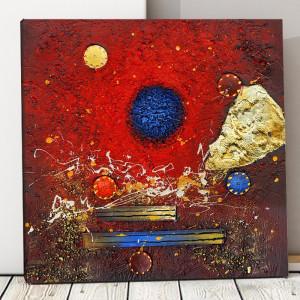 Tablou Canvas Compozitie Abstracta, Rosu si Albastru CTB39