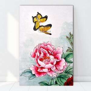 Tablou Canvas Fluturi cu Bujori SEF80