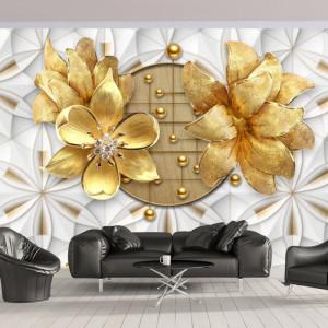 Fototapet 3D Flori Aurii cu Fundal Modern BES163