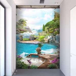 Fototapet 3D Peisaj De Vis Cu Delfini DIF15