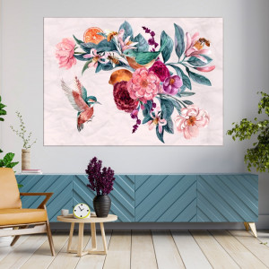 Tablou Canvas Ilustratie Botanica, Ramura cu Flori in Fundal Roz Pudrat CFB47