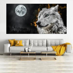 Tablou Canvas Lup Argintiu sub Clar de Luna ASP89