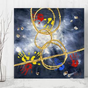 Tablou Canvas Maini Colorate in Compozitie Abstracta CTB40