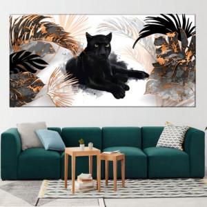 Tablou Canvas Pantera Neagra Printre Frunze Exotice AMG2108