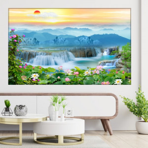 Tablou Canvas Relaxare la Apus Printre Nuferi si Cascade TOPSN32