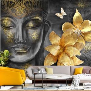 Fototapet 3D Buddha cu Flori Aurii BDS32