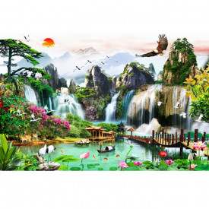 Fototapet 3D Cascada In Peisaj Tropical WTF95