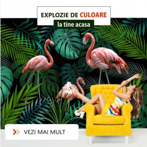 Fototapet 3D Flamingo Printre Frunze Exotice PFT6