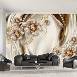Fototapet 3D Flori Aurii cu Cristale BES14