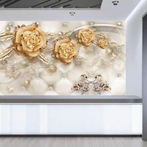 Fototapet 3D Flori Aurii cu Cristale si Lebede PFT20