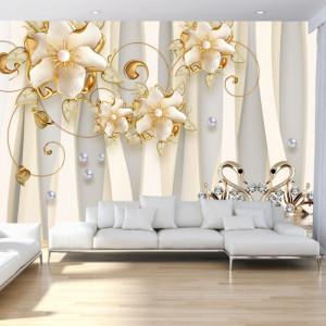 Fototapet 3D Flori cu Lebede BES169