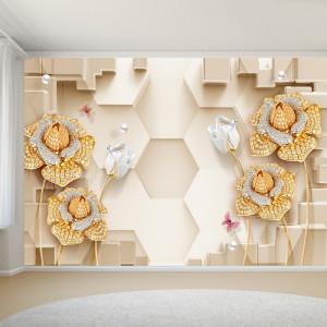 Fototapet 3D Fototapet Flori Aurii cu Cristale OPOS73