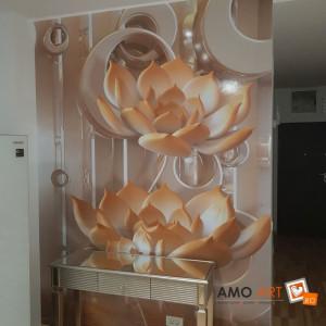 Fototapet Cercuri 3D Cu Flori De Lotus OPON4