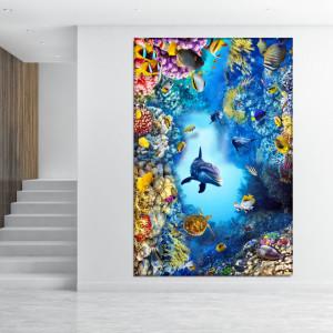 Tablou Canvas Delfin in Peisaj Marin cu Corali AQF68