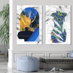Tablou Canvas Ilustratie Mix Abstract-Modern Terasa Cafenelei Van Gogh VVG25A
