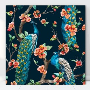 Tablou Canvas Pauni Printre Flori SEF97