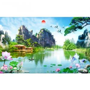 Fototapet 3D Cascada in Peisaj De Vis OPO5311