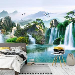 Fototapet 3D Cascade Intr-Un Peisaj De Vis OPO51