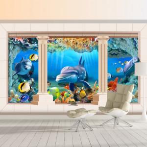 Fototapet 3D Delfini si Pesti Colorati Printre Coloane AQF53