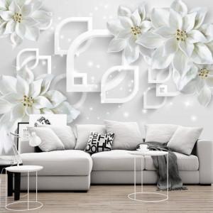 Fototapet 3D Flori Albe cu Design Modern BES93