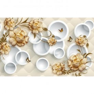 Fototapet 3D Flori Aurii Cu Cercuri Albe PFT12