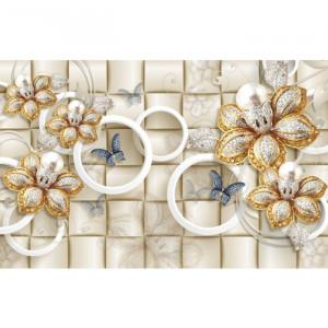 Fototapet 3D Flori Aurii Cu Cristale PFT1