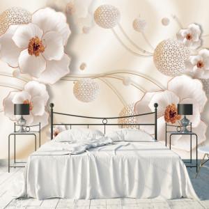 Fototapet 3D Flori Crem cu Sfere Moderne BES302