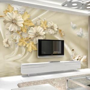 Fototapet 3D Flori cu Frunze Aurii si Lebede PFT36