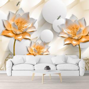 Fototapet 3D Flori de Lotus Portocalii BES98