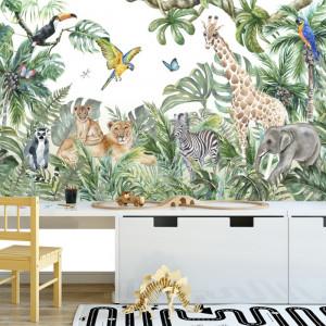 Fototapet 3D Jungla cu Animalute si Plante Tropicale CG2103