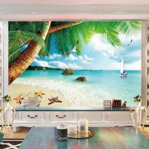 Fototapet 3D Plaja cu Palimieri si Stelute de Mare BES300