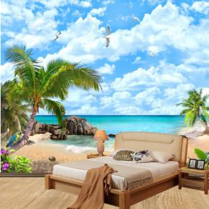 Fototapet 3D Relaxare la Plaja cu Palmieri DIF28