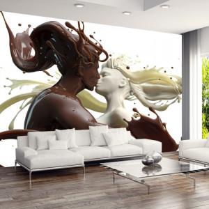 Fototapet 3D Sarutul Sculptură Lichidă Cafea cu Lapte MD2