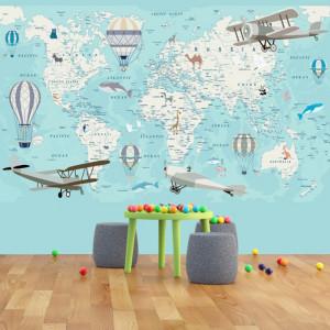 Fototapet Harta Lumii Pentru Copii cu Tari si Orase HCG6