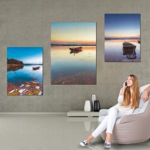 Tablou Canvas Barca Pe Lac In Culori de Toamna BFS20