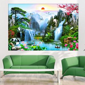 Tablou Canvas Cascada in Peisaj de Vis WTF103