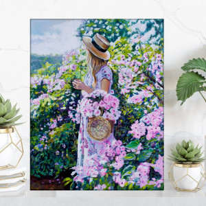 Tablou Canvas Fata cu Cos de Trandafiri Roz FAB111