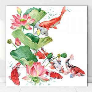 Tablou Canvas Flori de Lotus cu Pesti Koi SEF84