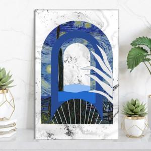 Tablou Canvas Ilustratie Mix Abstract-Modern Noapte Instelata Van Gogh VVG25D