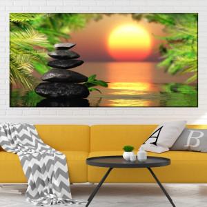 Tablou Canvas Pietre Spa Printre Frunze la Apus BES124