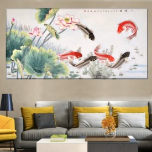 Tablou Canvas Flori de Lotus cu Pesti Crap  Koi SEF17