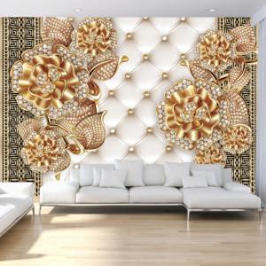 Fototapet 3D Flori Aurii cu Cristale BES71